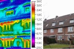 Durchfeuchtung  Fassade und Wohnungen  in der Schalenfuge über defekte Dachfläche